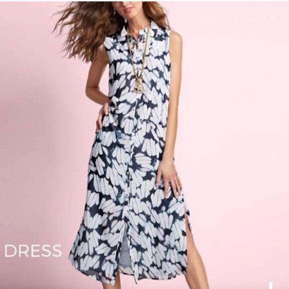 CAbi Blue Cloudy Sky Sleeveless Button Front Dress